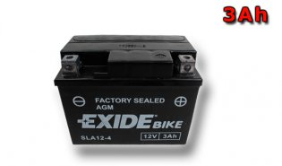 EXIDE BIKE Factory Sealed 3Ah, 12V, AGM12-4  (YTX4L-BS)